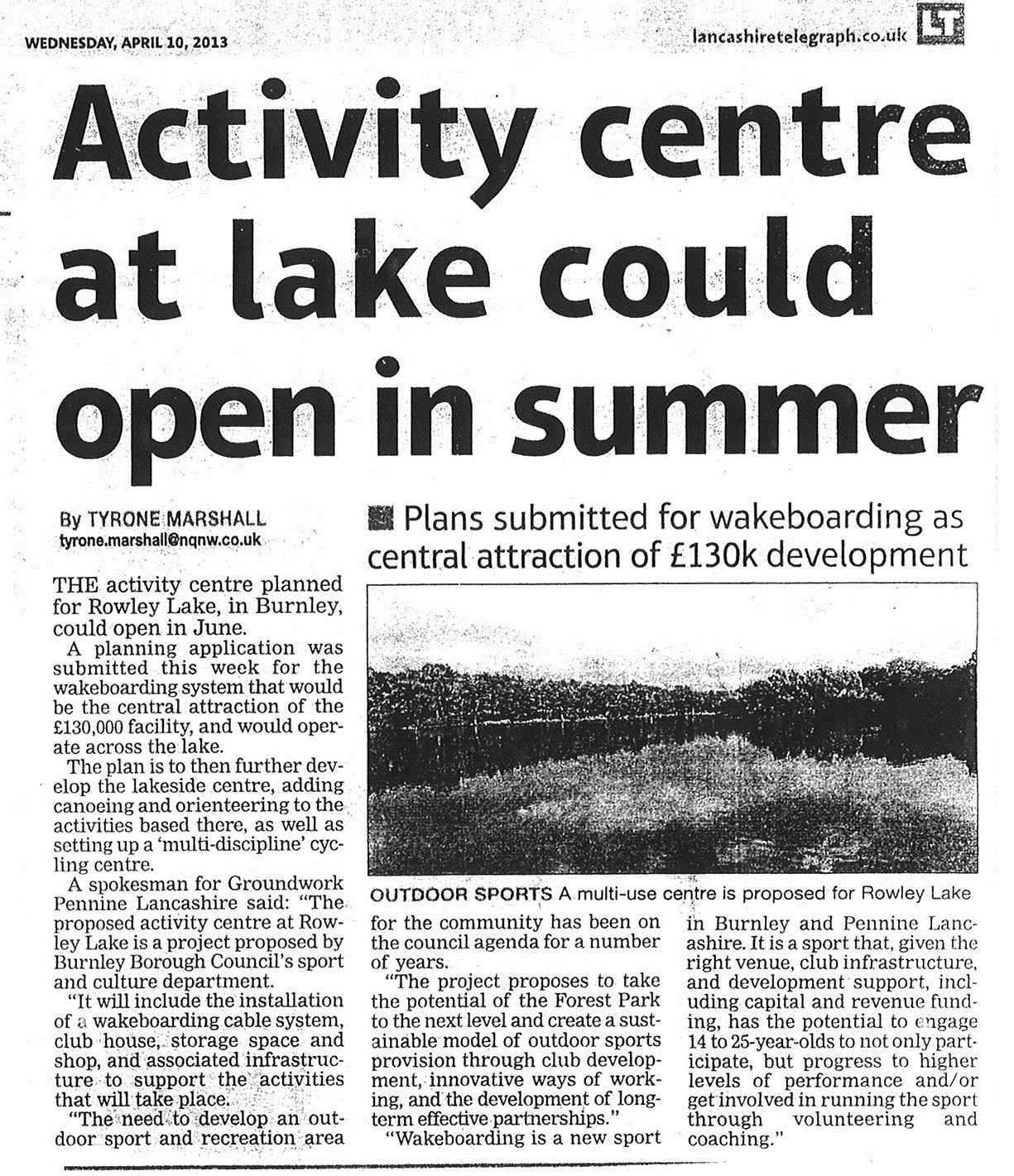 2013 April 10 Activity centre at lake could open in summer.jpg
