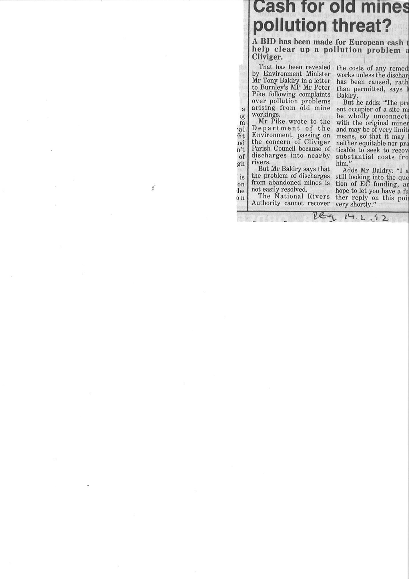 1992 Dec 14 Cash for old mines pollution threat.jpg