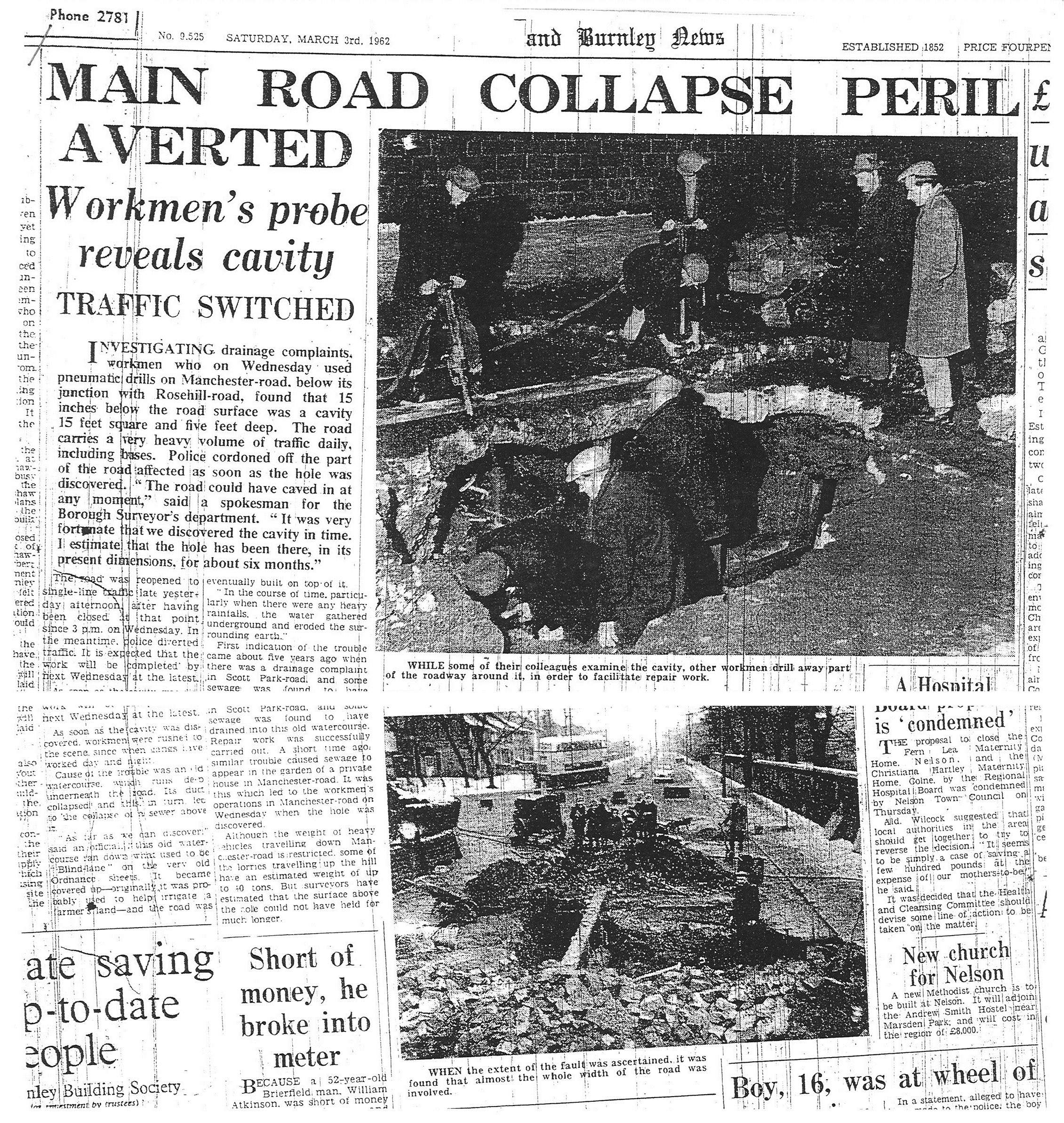 1962 March 3 Main road collapse peril averted.jpg
